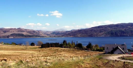 Loch Dubh Bed and Breakfast with commanding views looking south across Loch Carron towards Attadale