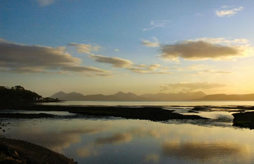 View from Applecross Bay towards the Cuillin Hills on Skye